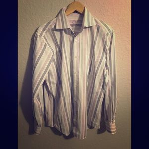 Men's BUGATCHI UOMO Dress Shirt Striped Large